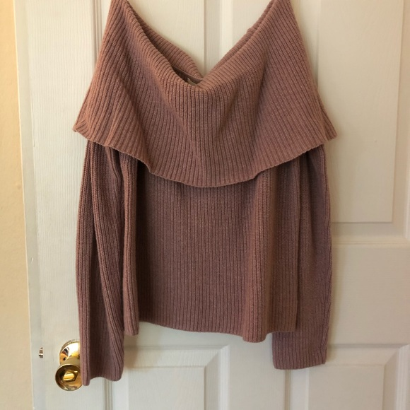 Sweaters - Dusty Pink Off The Shoulder Sweater